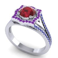 Ornate Halo Naksatra Ruby Ring with Amethyst and Blue Sapphire in 14k White Gold