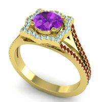 Ornate Halo Naksatra Amethyst Ring with Aquamarine and Garnet in 18k Yellow Gold