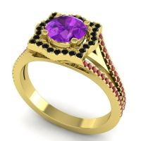 Ornate Halo Naksatra Amethyst Ring with Black Onyx and Ruby in 14k Yellow Gold