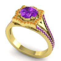 Ornate Halo Naksatra Amethyst Ring with Citrine in 14k Yellow Gold