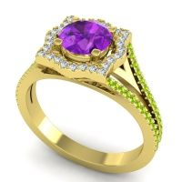 Ornate Halo Naksatra Amethyst Ring with Diamond and Peridot in 14k Yellow Gold