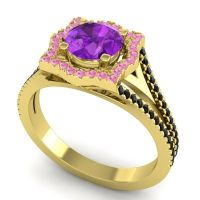 Ornate Halo Naksatra Amethyst Ring with Pink Tourmaline and Black Onyx in 14k Yellow Gold