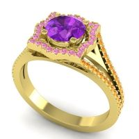 Ornate Halo Naksatra Amethyst Ring with Pink Tourmaline and Citrine in 14k Yellow Gold