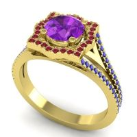 Ornate Halo Naksatra Amethyst Ring with Ruby and Blue Sapphire in 14k Yellow Gold