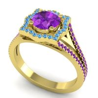 Ornate Halo Naksatra Amethyst Ring with Swiss Blue Topaz in 18k Yellow Gold