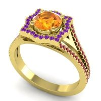 Ornate Halo Naksatra Citrine Ring with Amethyst and Ruby in 18k Yellow Gold