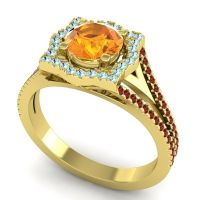 Ornate Halo Naksatra Citrine Ring with Aquamarine and Garnet in 18k Yellow Gold