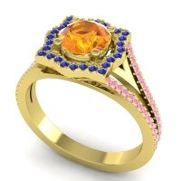 Ornate Halo Naksatra Citrine Ring with Blue Sapphire and Pink Tourmaline in 14k Yellow Gold