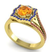 Ornate Halo Naksatra Citrine Ring with Blue Sapphire and Ruby in 18k Yellow Gold