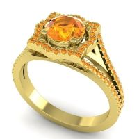 Ornate Halo Naksatra Citrine Ring in 18k Yellow Gold