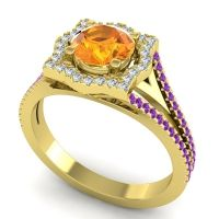 Ornate Halo Naksatra Citrine Ring with Diamond and Amethyst in 14k Yellow Gold