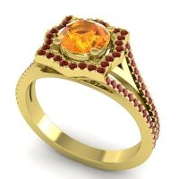 Ornate Halo Naksatra Citrine Ring with Garnet and Ruby in 18k Yellow Gold