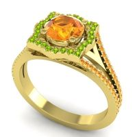 Ornate Halo Naksatra Citrine Ring with Peridot in 18k Yellow Gold