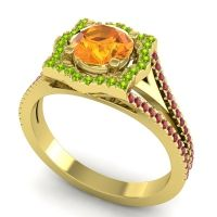 Ornate Halo Naksatra Citrine Ring with Peridot and Ruby in 14k Yellow Gold