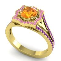Ornate Halo Naksatra Citrine Ring with Pink Tourmaline and Amethyst in 14k Yellow Gold