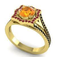 Ornate Halo Naksatra Citrine Ring with Ruby and Black Onyx in 14k Yellow Gold