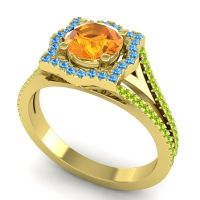 Ornate Halo Naksatra Citrine Ring with Swiss Blue Topaz and Peridot in 14k Yellow Gold
