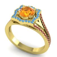 Ornate Halo Naksatra Citrine Ring with Swiss Blue Topaz and Ruby in 14k Yellow Gold