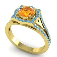 Ornate Halo Naksatra Citrine Ring with Swiss Blue Topaz in 18k Yellow Gold