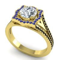 Ornate Halo Naksatra Diamond Ring with Blue Sapphire and Black Onyx in 14k Yellow Gold