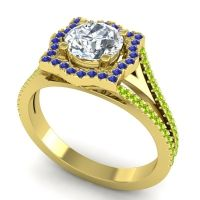 Ornate Halo Naksatra Diamond Ring with Blue Sapphire and Peridot in 14k Yellow Gold