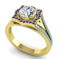 Ornate Halo Naksatra Diamond Ring with Blue Sapphire and Swiss Blue Topaz in 18k Yellow Gold