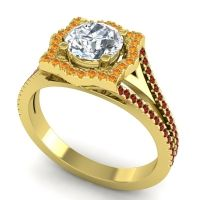 Ornate Halo Naksatra Diamond Ring with Citrine and Garnet in 18k Yellow Gold