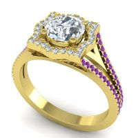 Ornate Halo Naksatra Diamond Ring with Amethyst in 18k Yellow Gold