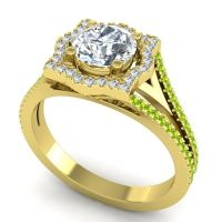 Ornate Halo Naksatra Diamond Ring with Peridot in 14k Yellow Gold