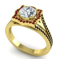 Ornate Halo Naksatra Diamond Ring with Garnet and Black Onyx in 14k Yellow Gold