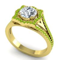 Ornate Halo Naksatra Diamond Ring with Peridot in 14k Yellow Gold