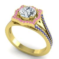 Ornate Halo Naksatra Diamond Ring with Pink Tourmaline and Blue Sapphire in 14k Yellow Gold