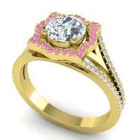 Ornate Halo Naksatra Diamond Ring with Pink Tourmaline in 18k Yellow Gold