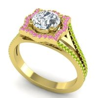 Ornate Halo Naksatra Diamond Ring with Pink Tourmaline and Peridot in 14k Yellow Gold