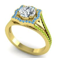 Ornate Halo Naksatra Diamond Ring with Swiss Blue Topaz and Peridot in 14k Yellow Gold