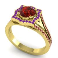 Ornate Halo Naksatra Garnet Ring with Amethyst and Ruby in 14k Yellow Gold