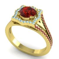 Ornate Halo Naksatra Garnet Ring with Aquamarine and Ruby in 18k Yellow Gold