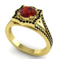 Ornate Halo Naksatra Garnet Ring with Black Onyx in 18k Yellow Gold