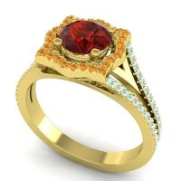 Ornate Halo Naksatra Garnet Ring with Citrine and Aquamarine in 18k Yellow Gold