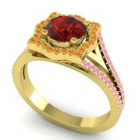 Ornate Halo Naksatra Garnet Ring with Citrine and Pink Tourmaline in 14k Yellow Gold