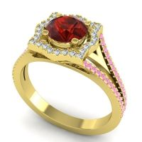 Ornate Halo Naksatra Garnet Ring with Diamond and Pink Tourmaline in 14k Yellow Gold