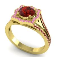 Ornate Halo Naksatra Garnet Ring with Pink Tourmaline and Ruby in 18k Yellow Gold