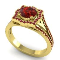 Ornate Halo Naksatra Garnet Ring with Ruby in 18k Yellow Gold