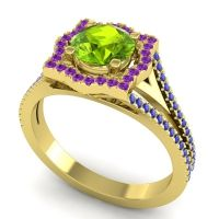 Ornate Halo Naksatra Peridot Ring with Amethyst and Blue Sapphire in 18k Yellow Gold