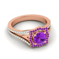 Ornate Halo Naksatra Amethyst Ring with Aquamarine in 14K Rose Gold