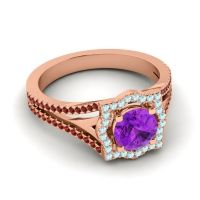 Ornate Halo Naksatra Amethyst Ring with Aquamarine and Garnet in 18K Rose Gold