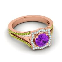 Ornate Halo Naksatra Amethyst Ring with Aquamarine and Peridot in 18K Rose Gold