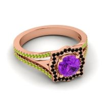 Ornate Halo Naksatra Amethyst Ring with Black Onyx and Peridot in 14K Rose Gold