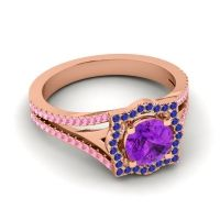 Ornate Halo Naksatra Amethyst Ring with Blue Sapphire and Pink Tourmaline in 14K Rose Gold
