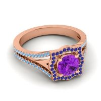 Ornate Halo Naksatra Amethyst Ring with Blue Sapphire and Swiss Blue Topaz in 18K Rose Gold